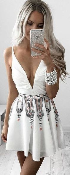 Printed Little White Dress                                                                             Source