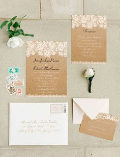 chic country rustic lace wedding invitations