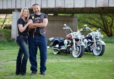 Couple with motorcycles portrait by Tracy Howell Photography www.tracyhowellphotography.com Professional portraiture