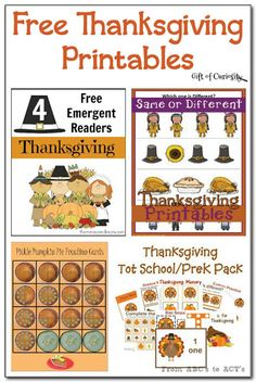 Free Thanksgiving Printables || Gift of Curiosity