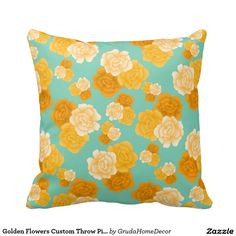 Golden Flowers Custom Throw Pillow