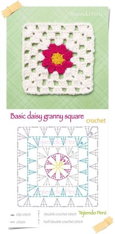 Crochet: basic daisy granny square pattern (diagram or chart)! by deann Crochet: basic daisy granny square pattern (diagram or chart)! by deann Motifs Granny Square, Flower Granny Square, Crochet Motifs, Granny Square Blanket, Crochet Blocks, Granny Square Crochet Pattern, Crochet Diagram, Crochet Chart, Crochet Squares
