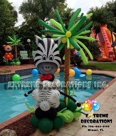 Jungle Theme Party Decorations - Balloon sculpture Zebra with balloon palm tree - Extreme Decorations Miami, FL extremedecorations@ Safari Theme Birthday, Jungle Theme Parties, Jungle Party, Safari Party, Party Themes, Balloon Palm Tree, Palm Trees, Jungle Balloons, Balloons And More