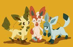 Tags: Anime, Pokémon, Leafeon, Glaceon, Eeveelution, sylveon