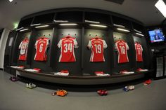 The Arsenal changing room before the FA Cup Semi Final between Reading and Arsenal at Wembley Stadium on April 18, 2015.