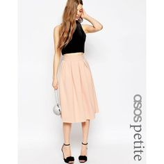 ASOS PETITE Midi Pleated Prom Skirt in Scuba (£26) ❤ liked on Polyvore featuring skirts, black, midi skirt, stretch midi skirt, stretchy skirt, zipper skirt and asos