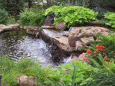 Rustic Landscape/Yard with Cowlitz Jetty Landscape Rock, Fountain, exterior stone floors, Pond Swimming Pool Landscaping, Pond Landscaping, Backyard Water Feature, Ponds Backyard, Koi Ponds, Sloping Backyard, Sloping Garden, Garden Ponds, Pond Fountains