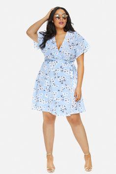 Plus Size Adeline Flutter Sleeve Wrap Dress