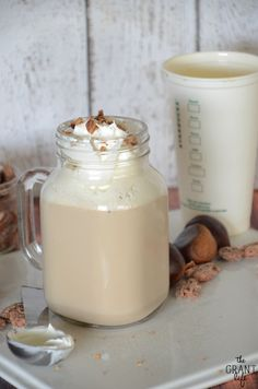 Chestnut praline latte!  Its a copycat of the new Starbucks version!  Click for the recipe.