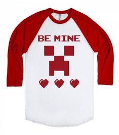 Be Mine Heart Minecraft Valentines Day T Shirt Printed on American Apparel Unisex Baseball Tee Valentine Shirts, Kinder Valentines, Valentines For Boys, Valentine Box, Mom And Baby Costumes, Baby Halloween Costumes, Vinyl Shirts, Kids Shirts, Valentinstag Shirts