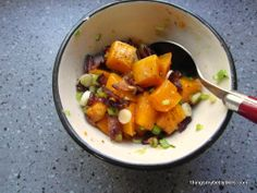 Butternut Squash, Bacon & Goat's Cheese Salad I thingsmybellylikes.com