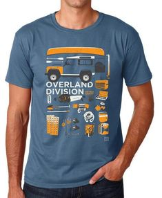 Just in - Defender Overland Division on an Indigo Blue T-shirt 'Overland Division' - Everything you need for your next adventure on one t-shirt!  This design is unique to Retro Eighty. Hand screen printed in the UKonto 100% cotton Gildan t-shirts  Manufacturers measurements: Small: 36-38 Medium: 40-42 Large