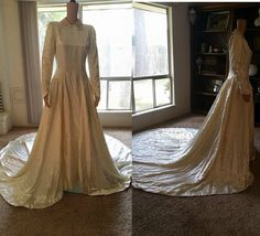 Vintage 1940's Wedding Dress with train by William Cahill of Beverly Hills #WilliamCahillofBeverlyHills