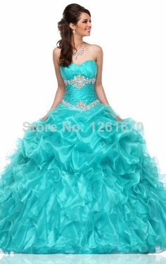 New Unique 2014 Mint Green Quinceanera Dresses Ruffled Organza Sweetheart Rhinestones Beads Floor Length Ball Gown $168.00
