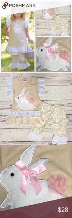 2pc. Easter Bunny Capri Set Easter is just around the corner!  Order now before they're gone!!  White lace accents on ruffled sleeves, shirt hem area and capris hem.   Bunny is fur, wearing a bow and has tulle tail in pink. 💕  95% Cotton 5% Spandex   ❗️Price is Firm. No offers please.❗️ #PG7721064 Matching Sets