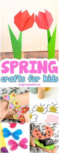 Super fun Spring Crafts for Kids. Fun craft ideas and crafts with printable templates. #craftsforkids #activitiesforkids #springcraftsforkids