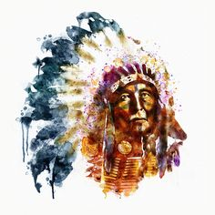Watercolor portrait of a native American chief with a feather headdress. Native American Warrior, Native American Art, American Symbols, American Indians, Watercolor Portraits, Watercolor Art, Fine Art Amerika, Native American Paintings, Feather Headdress