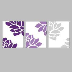 Floral Trio - Set of Three Coordinating 8x10 Prints - Choose Your Colors - Shown in Purple and Gray Medley - Modern Nursery Decor on Etsy, $55.00