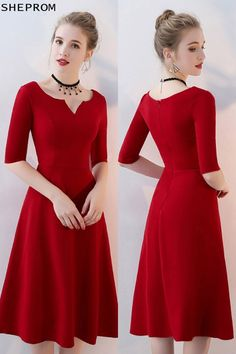 Shop Simple Burgundy Aline Knee Length Party Dress with Sleeves online. SheProm offers formal, party, casual & more style dresses to fit your special occasions. Trendy Dresses, Simple Dresses, Elegant Dresses, Short Dresses, Fashion Dresses, Formal Dresses, Casual Dresses, Red A Line Dress, Party Dresses With Sleeves