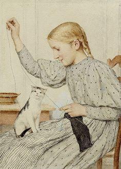 Albert Anker (Swiss artist, 1831–1910) - Sitzendes Mädchen mit einer Katze - Watercolour, 1903