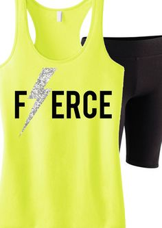 Perfect for a tough #Workout! FIERCE glitter Lightning #Gym Tank Top, $24.99. Look great and inspire with these motivational tanks! Click here to buy http://nobullwoman-apparel.com/collections/fitness-tanks-workout-shirts/products/fierce-glitter-lightning-workout-tank-top-workout