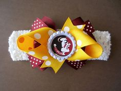 Florida State Seminoles Hair Bow on Headband Baby Toddler**FREE SHIPPING**