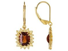 Stratify (Tm) Hessonite 4.33ctw With 1.33ctw Yellow Sapphire 18k Yellow Gold Over Sterling Earrings