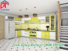 Thiết kế tủ bếp màu xanh non thân thiện PTL139