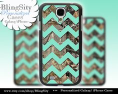 Camo Mint Chevron Galaxy S4 case S5 Real Tree Camo Deer Personalized Monogram Samsung Galaxy S3 Case Note 2 3 Cover by BlingSity