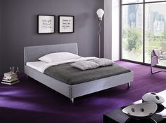 Polsterbett Doppelbett Bett hellgrau Stoffbezug 140x200cm Neu