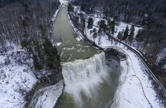 Along the Genesee River in Letchworth State Park, you'll be able to see three major waterfalls — Upper, Lower, and Middle Falls. Grand Canyon Winter, New York January, Letchworth State Park, New York Attractions, New York Winter, Getaway Cabins, Girls Getaway, Cross Country Skiing, Adventure Awaits