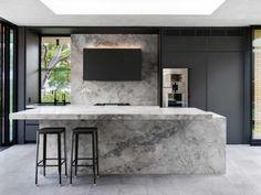 kitchen-design-natural-stone-benchtop-liebherr-zip-tap-gaggenau-premier-kitchens-australia-6 Stone Benchtop Kitchen, Quality Kitchens, Black Cabinets, Old Kitchen, Minimalist Interior, Cool Kitchens, Kitchen Design, New Homes, House Design