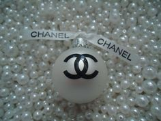 CHANEL INSPIRED PEARL WHITE GLASS CHRISTMAS TREE ORNAMENT CC CHANEL RIBBON SMALL