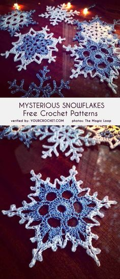 (Mysterious) Snowflakes Free Crochet Patterns With this marvelous design, you can almost feel the mystery of Christmas Eve. In this pattern you will find 3 different beautiful snowflake projects to fo Crochet Motifs, Crochet Flower Patterns, Crochet Squares, Thread Crochet, Crochet Doilies, Crochet Flowers, Knit Crochet, Crochet Ideas, Free Christmas Crochet Patterns
