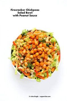 Crunchy Salad with firecracker Chickpeas. Easy Chickpeas in firecracker sauce served over salad w/ Peanut sauce dressing. Vegan Gluten-free Recipe.