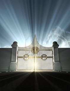 A depiction of the pearly gates of heaven with the bright side of heaven contrasting with the duller foreground  Stock Photo