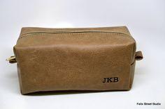 Handmade Groomsman Gift Leather Dopp Kit by FelixStreetStudio