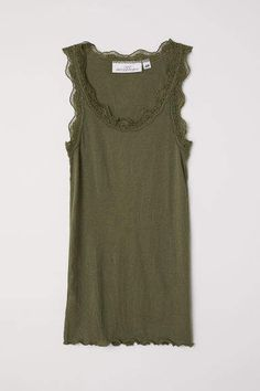 790b6deda74 H M Ribbed Lace-trimmed Tank Top - Green