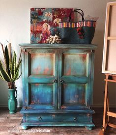 ombre blue painted cabinet - painted furniture