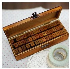 Wooden Rubber Stamp Box - Vintage Print Style - Capital Alphabet Stamp and Number Stamp