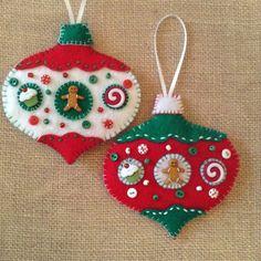 Peperkoek vilt ornamenten Kerstmis handgemaakte versieringen