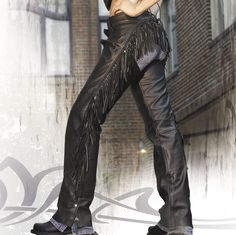 Interstate Leather Women's Maxie Fringed Black Leather Chaps | 121-022