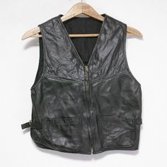 LEATHER VEST-BLACK SIZE: M-L