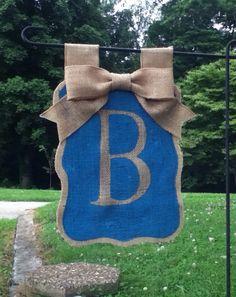 Monogrammed Burlap Flag with Burlap Bow Double by AdorablyShabby, $24.00