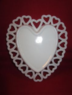Westmoreland White Milk Glass Heart Shaped Candy Dish Bowl Heart Lace Edge -EUC in Pottery & Glass | eBay