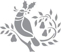 Glass etching stencil of Christmas Dove. In category: Birds, Christmas, Fruit