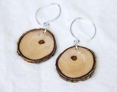 Natural edge wood earrings