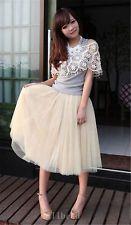 Women Bohemian Pleated Tutu Princess Skirt Petticoat Knee-Length Mini Dress A