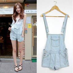 2015 Korean summer lady loose ripped denim overalls plus size casual denim shorts pants suspenders Jumpsuits Rompers women jeans