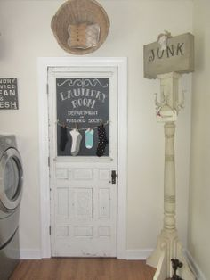 Junk Chic Cottage replaced the window in this door with a chalkboard. Love it!